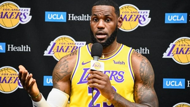 Lebron james captured speaking to the Larry O'Brien title trophy