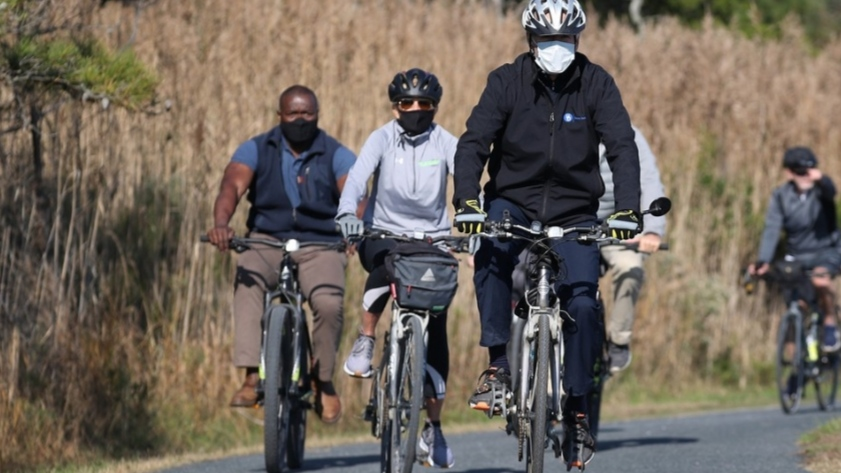 President-elect Joe Biden and his wife seen on a bicycle ride