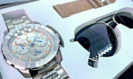 Vince Camuto Chronograph Stainless Steel Men's Watch and Sunglass Set