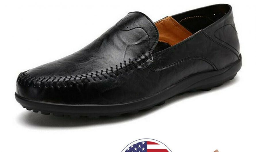 Men's Leather Casual Loafers Dress Shoes Breathable Antiskid Slip On Moccasins